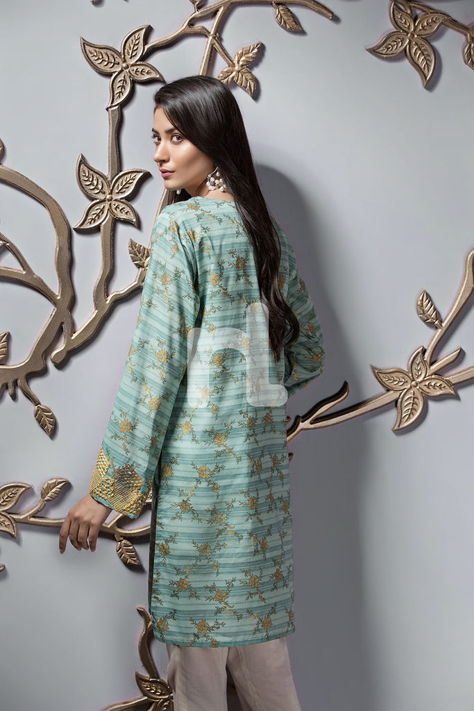 PE19-119 Sea Green Printed Embroidered Stitched Lawn Shirt - 1PC - Nishat Linen UAE