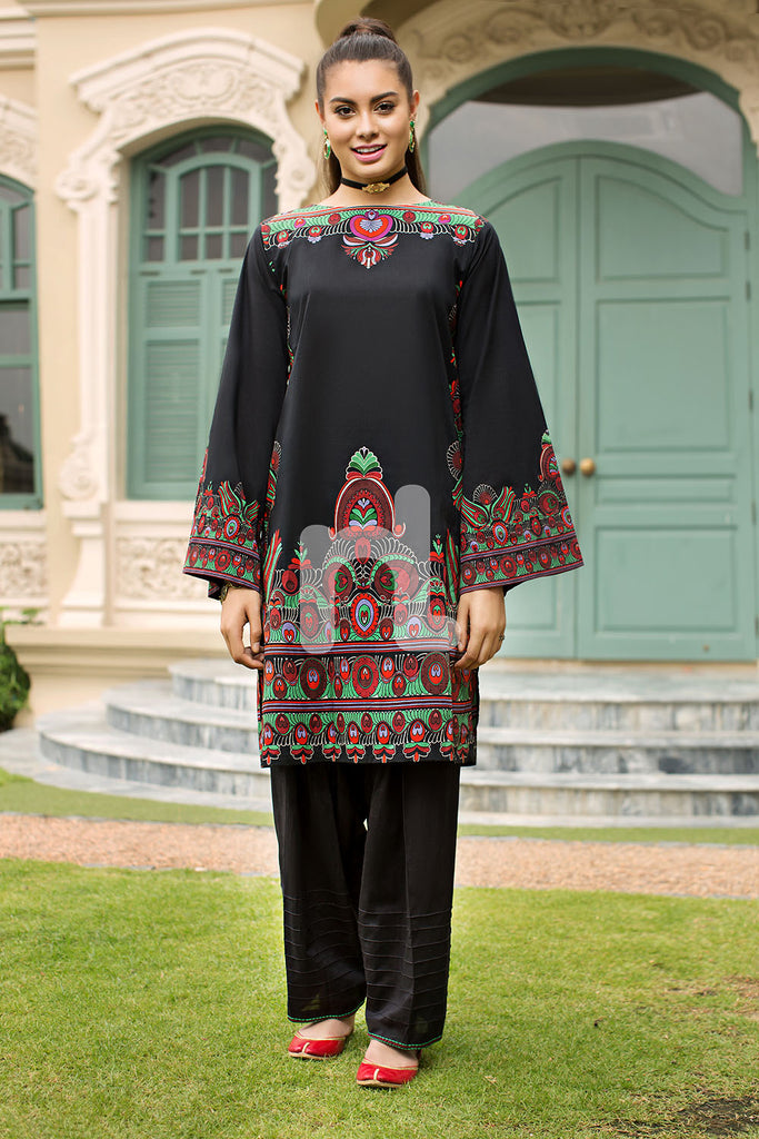 PE19-18 Black Printed Stitched Lawn Shirt & Dyed Shalwar - 2PC - Nishat Linen UAE