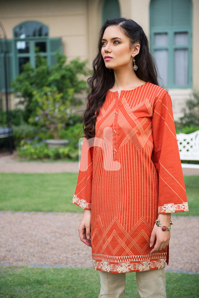 PE19-61 Orange Embroidered Stitched Lawn Shirt - 1PC - Nishat Linen UAE