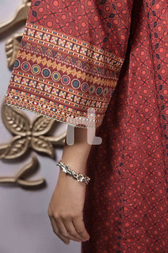 PE19-94 Red Digital Printed Stitched Lawn Shirt - 1PC - Nishat Linen UAE