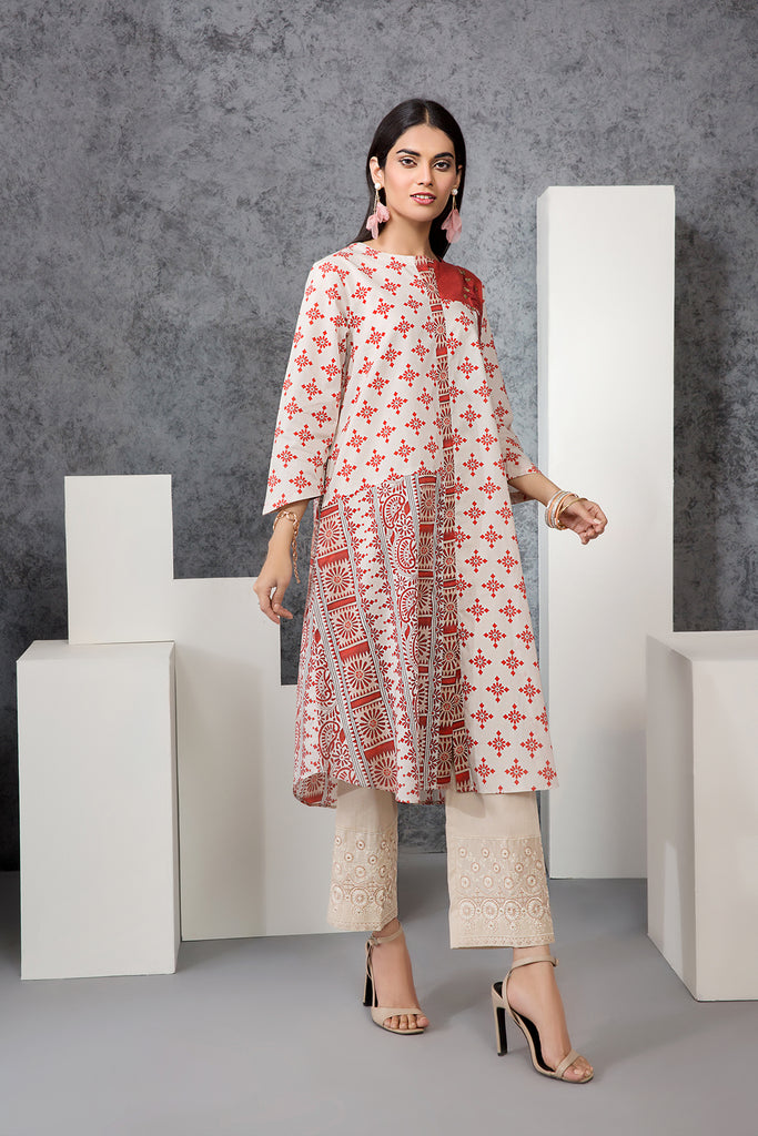 PE20-14 Printed Embroidered Stitched Shirt - 1PC - Nishat Linen UAE