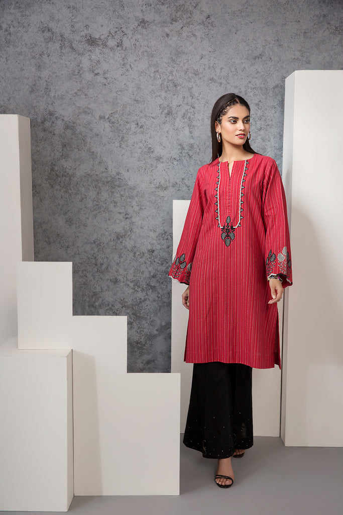 PE20-40 Embroidered Stitched Jacquard Shirt - 1PC - Nishat Linen UAE