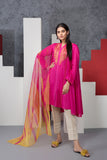 PE20-60-Ethnic Printed Embroidered Stitched Shirt & Cotton Net Dupatta - 2PC