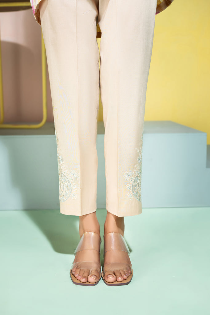 PE20-76- Embroidered Stitched Cambric Trouser-1PC