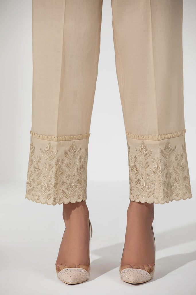 PE21-09-Straight Trouser With Embroidered Hem And Organza Detail