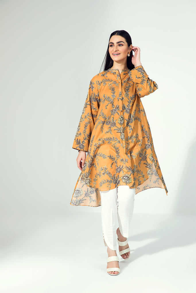 PE21-17-Cuffedd Detailing Trendy Printed Stitched Shirt-1PC