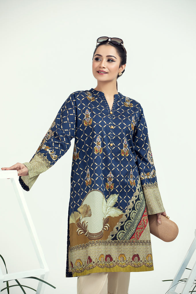 PE21-37-Embroidery & Button Detailing Classic Printed Stitched Shirt-1PC