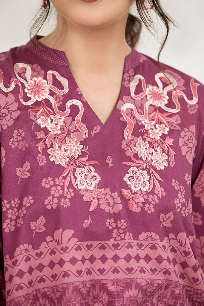 PE21-38-Embroidered Straight Printed Stitched Shirt-1PC