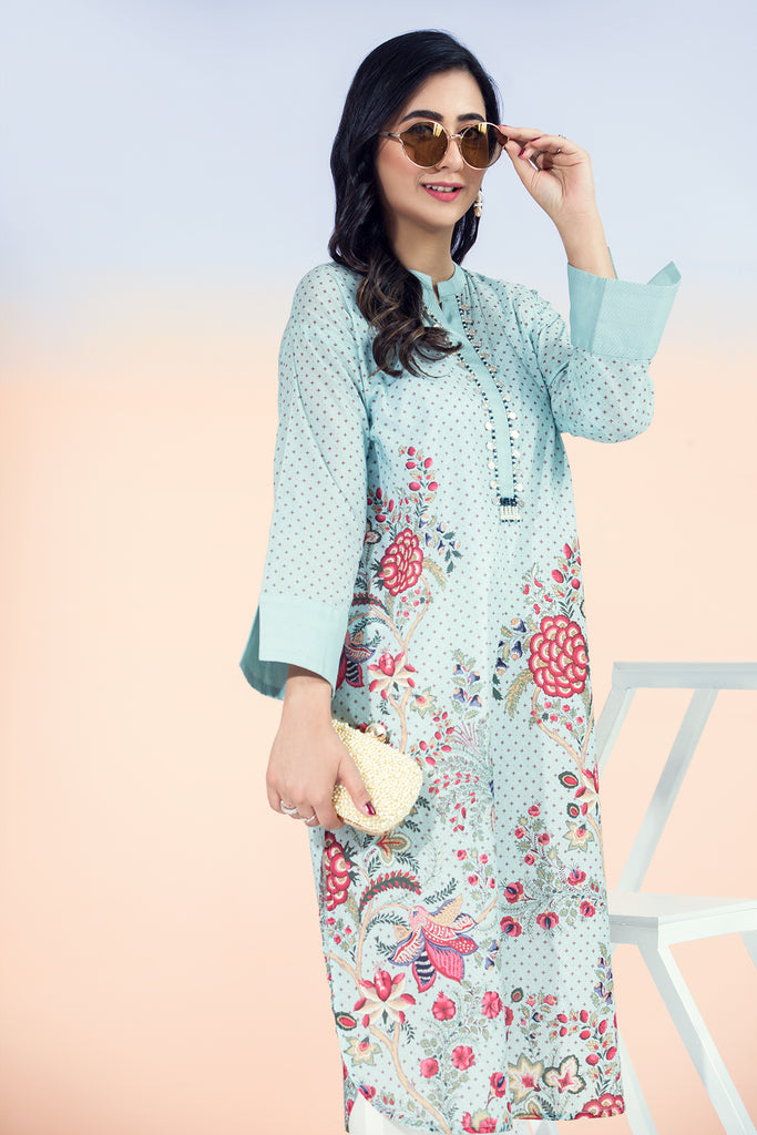 PE21-73-Beads Detailing Long Printed Straight Stitched Shirt-1PC