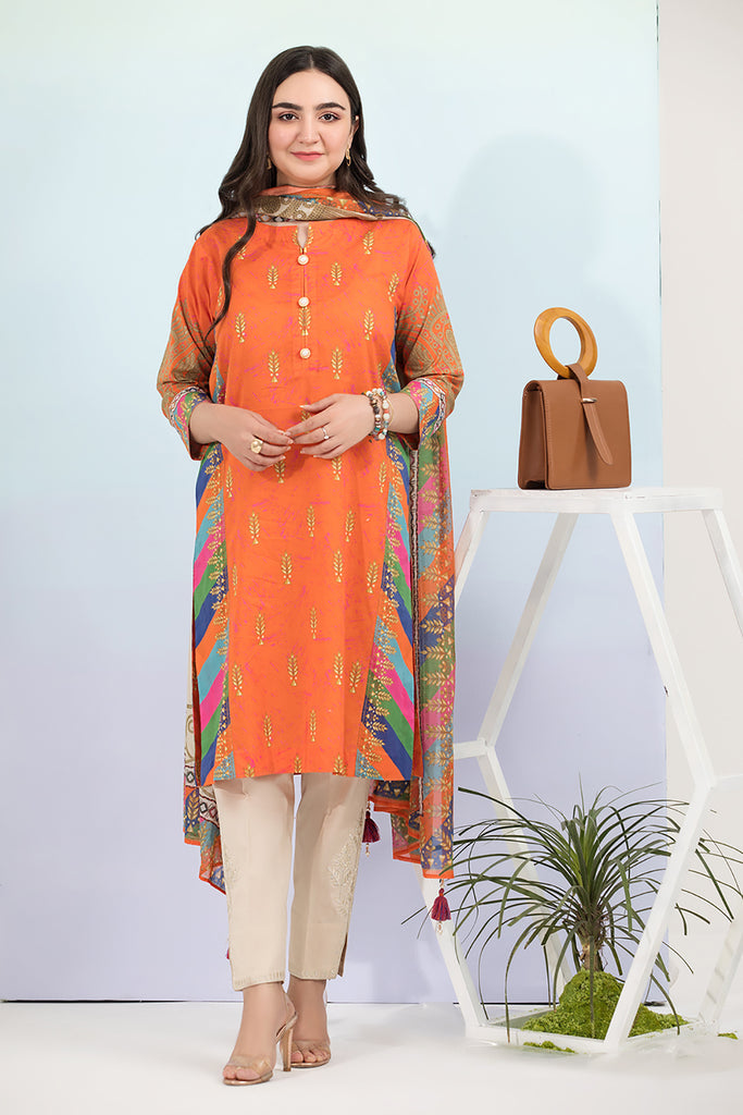 PE21-85-Button Detailing Mix & Match Printed Stitched Shirt with Printed Duaptta-2PC