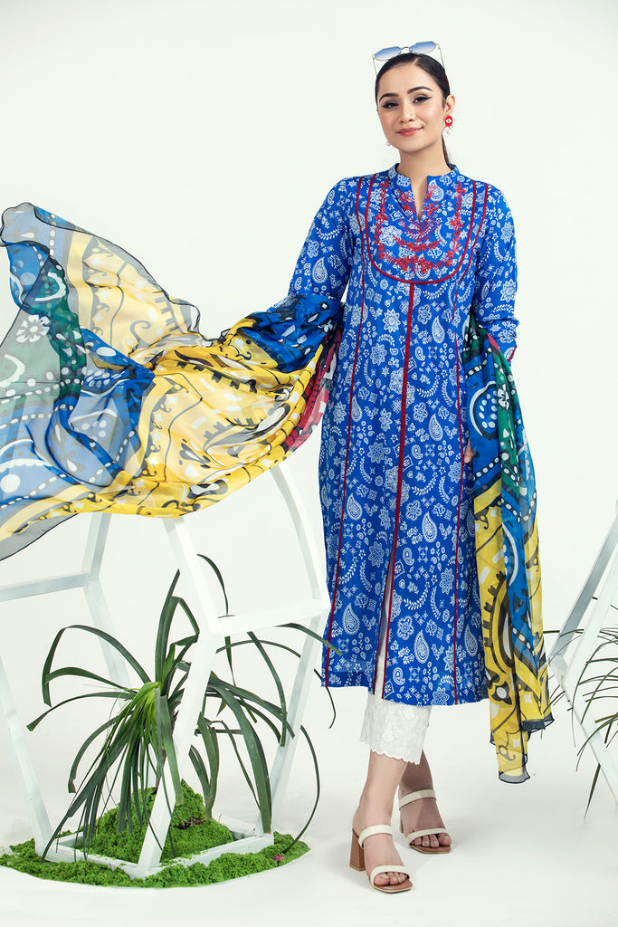 PE21-92 2PC-Classic Embroided Shirt With Silk Dupatta