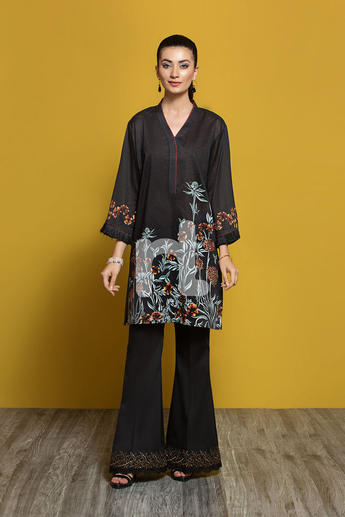 PPE19-02 Black Printed Stitched Shirt - 1PC - Nishat Linen UAE