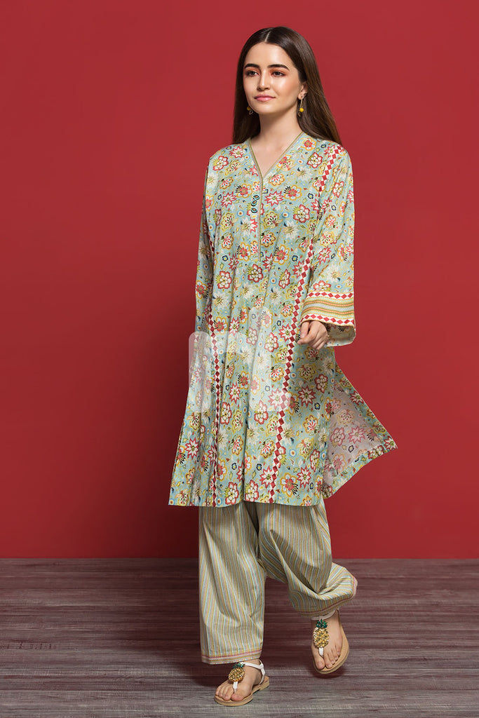PPE19-05 Green Printed Stitched Shirt & Printed Shalwar - 2PC - Nishat Linen UAE
