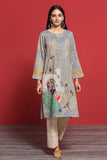 PPE19-16 Beige Digital Printed Embroidered Stitched Lawn Shirt - 1PC