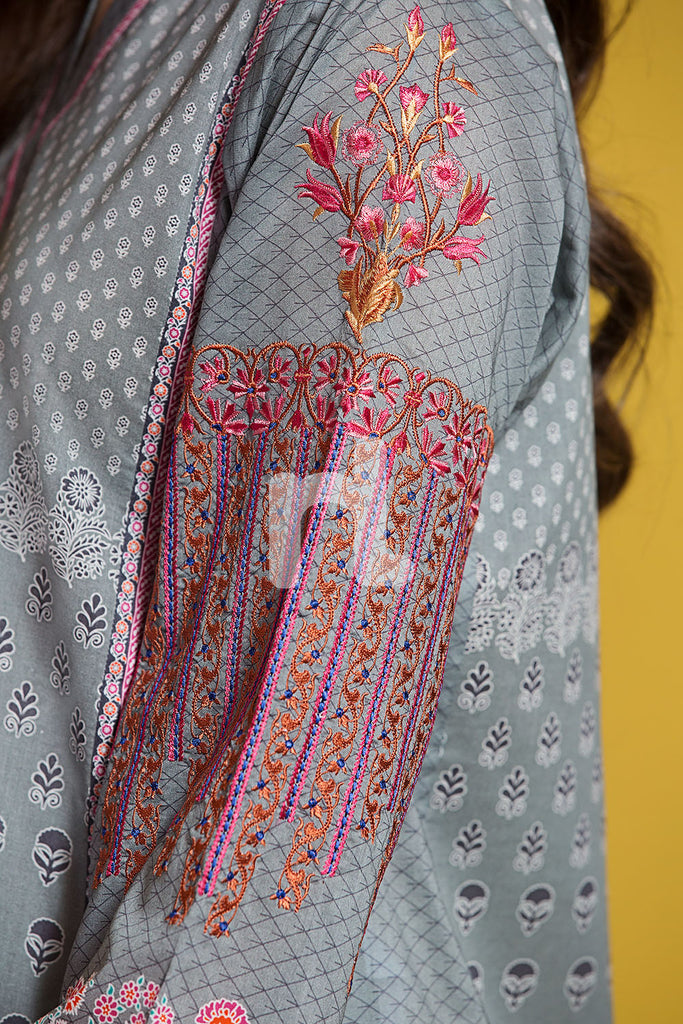 PPE19-27 Grey Digital Printed Embroidered Stitched Lawn Shirt - 1PC - Nishat Linen UAE