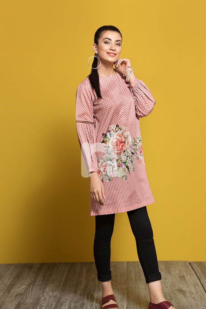 PPE19-35 Peach Digital Printed Stitched Lawn Shirt - 1PC - Nishat Linen UAE