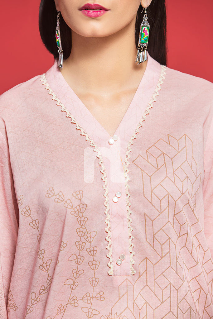PPE19-38 Pink Printed Stitched Shirt - 1PC - Nishat Linen UAE