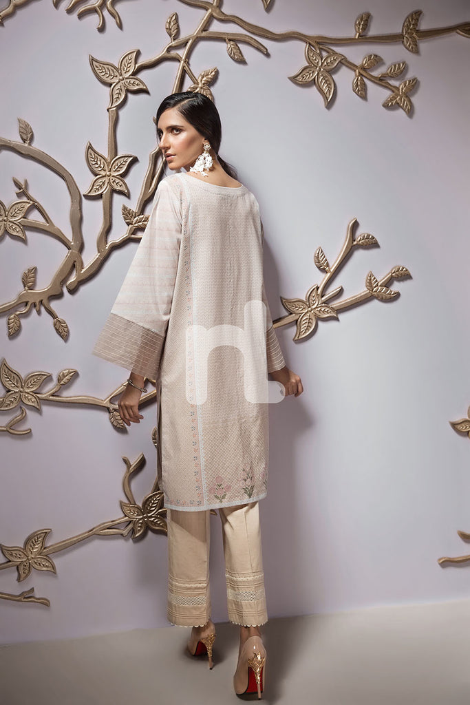 PPE19-53 Peach Digital Printed Embroidered Stitched Lawn Shirt - 1PC - Nishat Linen UAE