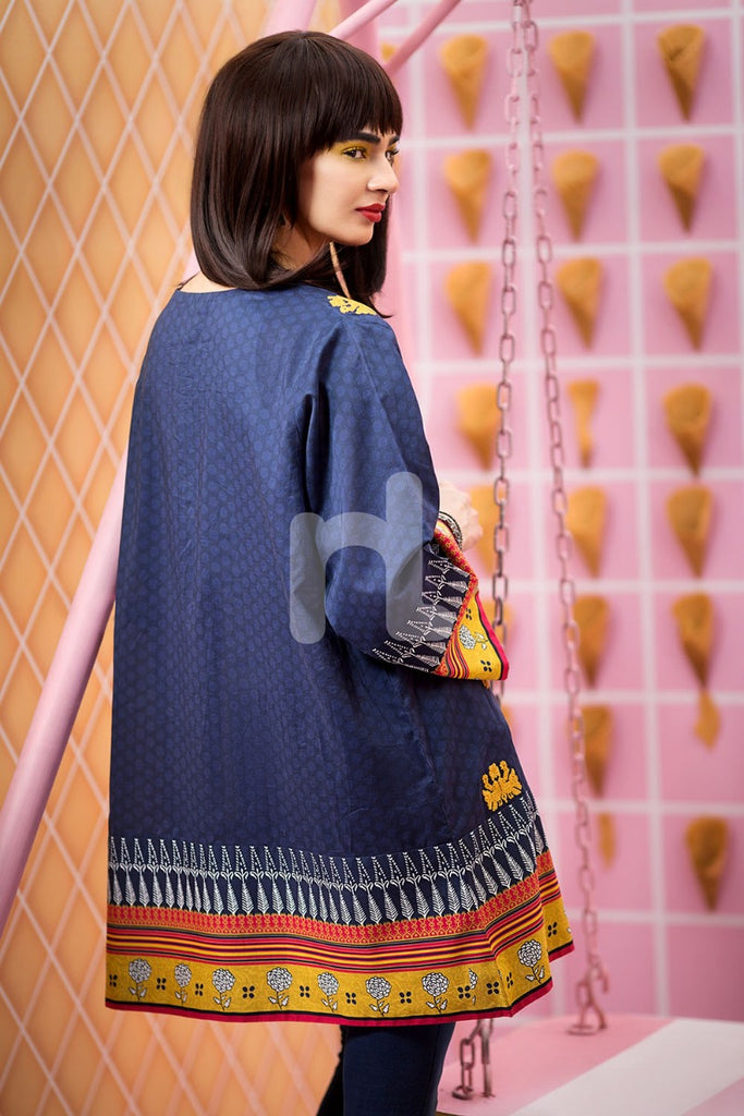Ps18-68 Blue Embroidered Stitched Lawn Shirt-1Pc - Nishat Linen UAE