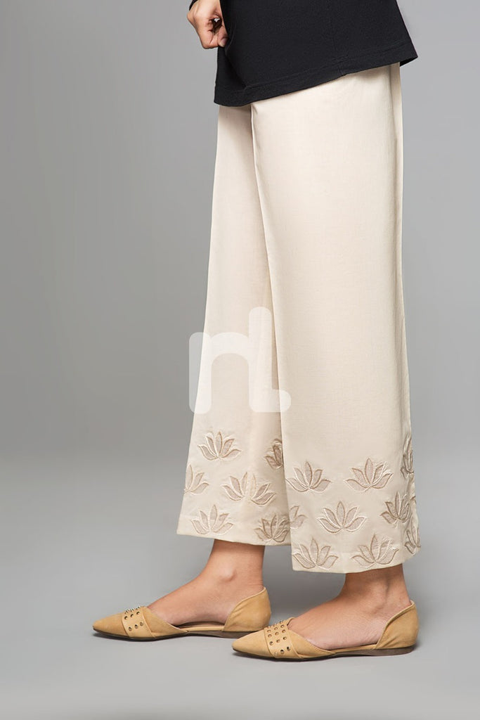PS19-126 Beige Dyed Embroidered Stitched Straight Cambric Trouser For Women - Nishat Linen UAE