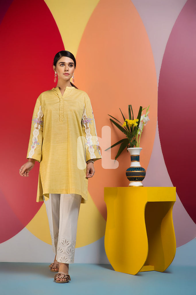 PS19-133 Yellow Dyed Embroidered Stitched Shirt - 1PC - Nishat Linen UAE