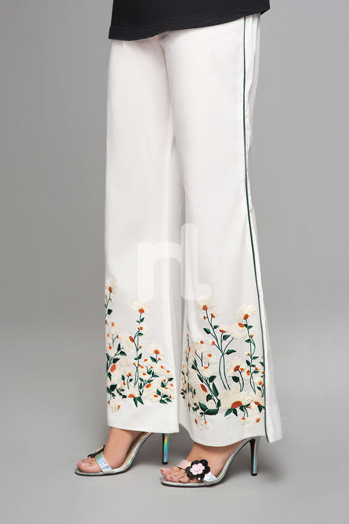 PS19-141 White Embroidered Stitched Boot Cut Cambric Trouser for Women - Nishat Linen UAE