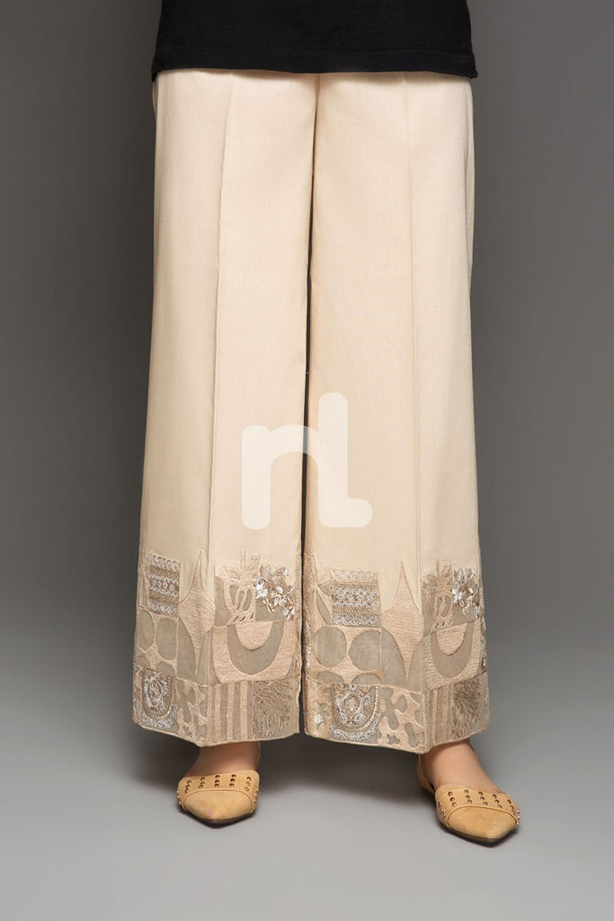 PS19-150 Beige Embroidered Stitched Loose Straight Trouser for Women - Nishat Linen UAE