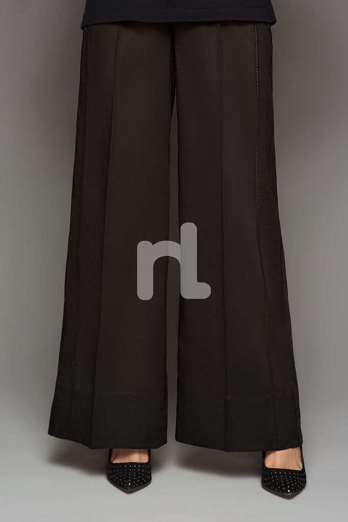 PS19-156 Black Plain Dyed Stitched Loose Cambric Trouser for Women - Nishat Linen UAE