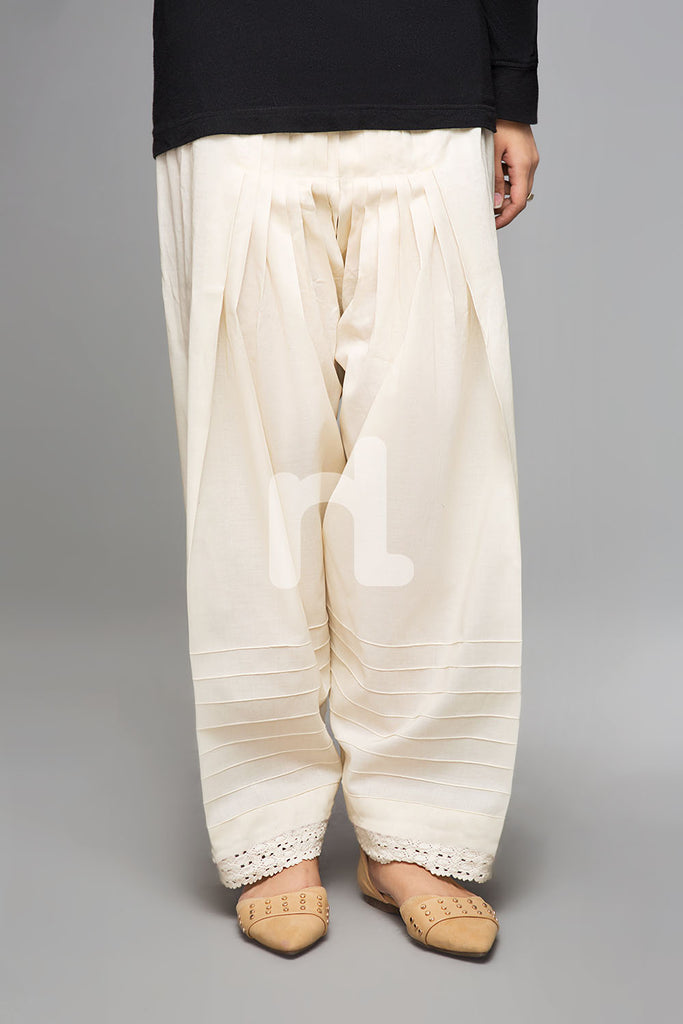 PS19-167 Off White Plain Dyed Stitched Cambric Shalwar for Women - Nishat Linen UAE