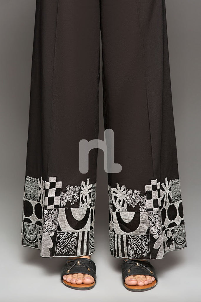 PS19-152 Black Embroidered Stitched Loose Straight Trouser for Women - Nishat Linen UAE