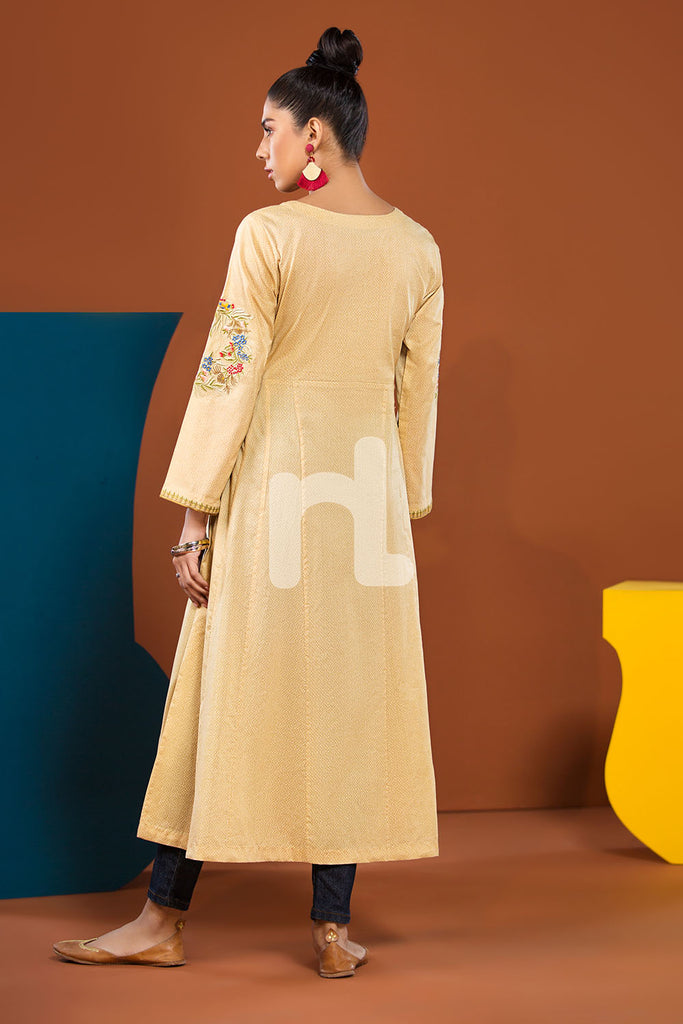 PS19-112 Yellow Textured Embroidered Stitched Shirt - 1PC - Nishat Linen UAE