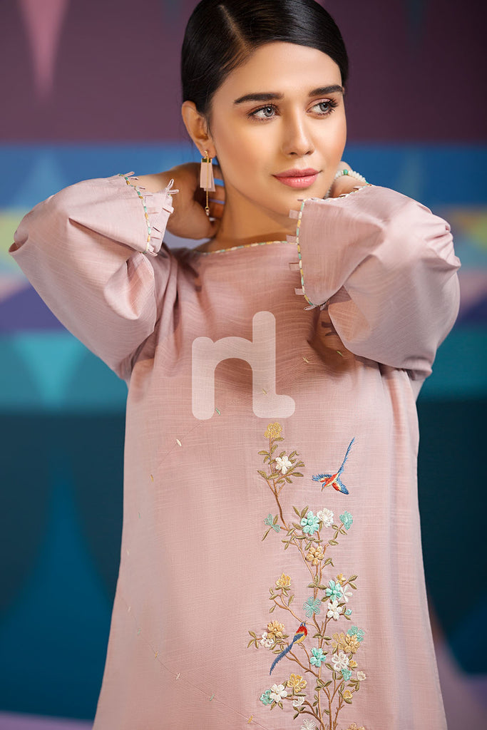 PS19-124 Pink Dyed Embroidered Stitched Shirt - 1PC - Nishat Linen UAE