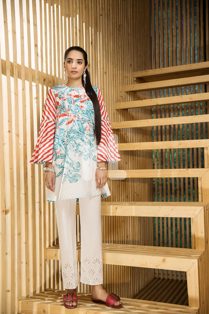 PS19-13 White Printed Stitched Shirt - 1PC - Nishat Linen UAE