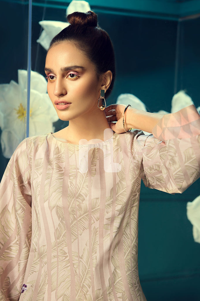 PS19-140 Pink Printed Embroidered Stitched Lawn Shirt - 1PC - Nishat Linen UAE