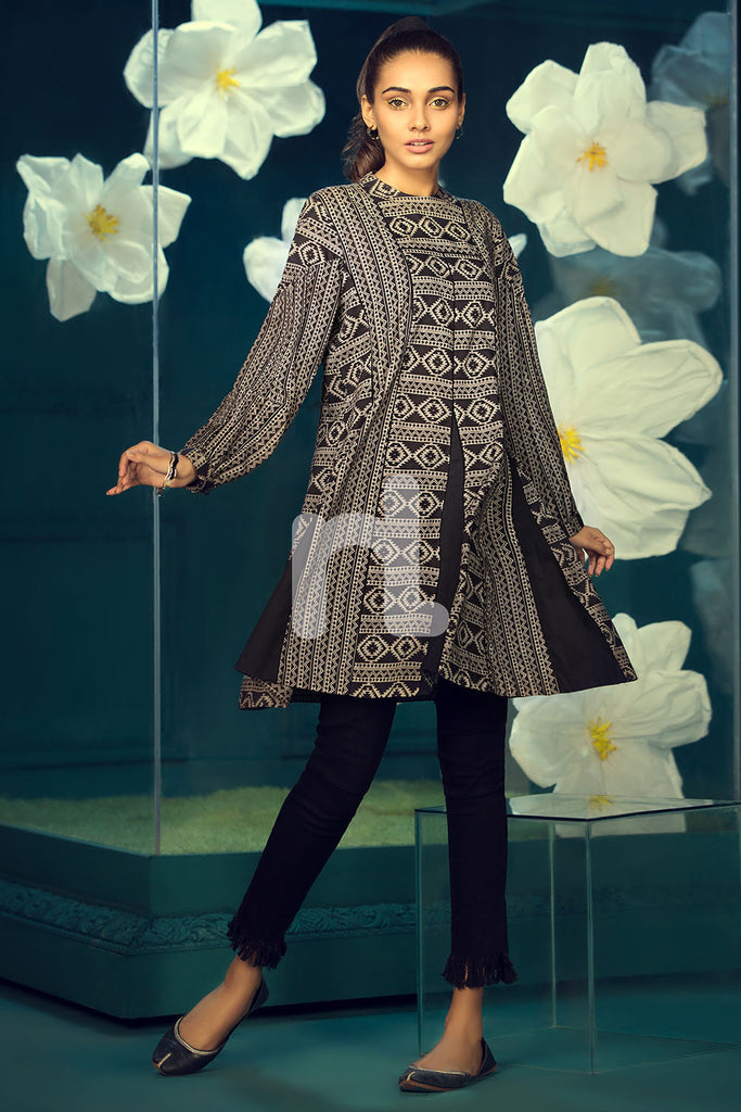 PS19-143 Black Printed Stitched Lawn Frock - 1PC - Nishat Linen UAE