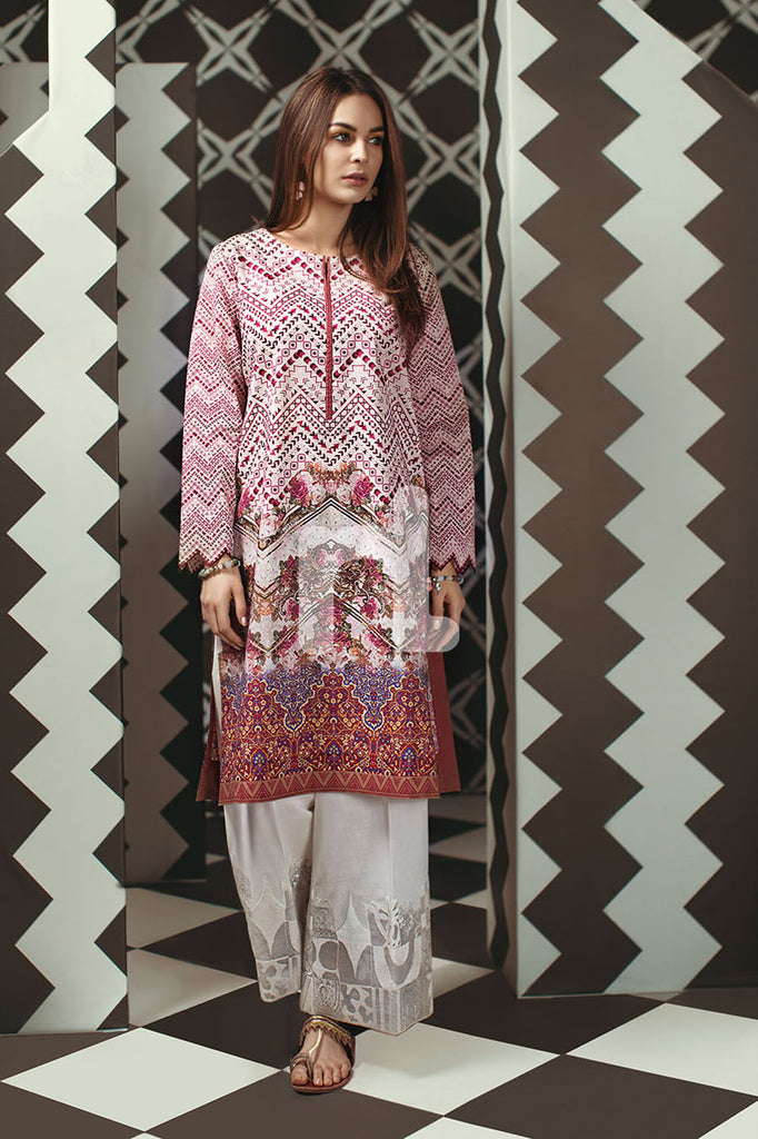 PS19-153 Pink Digital Printed Stitched Lawn Shirt - 1PC - Nishat Linen UAE
