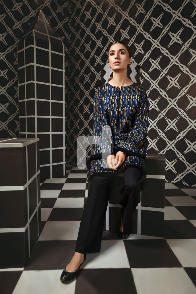 PS19-165 Blue Digital Gold Printed Stitched Lawn Shirt - 1PC - Nishat Linen UAE