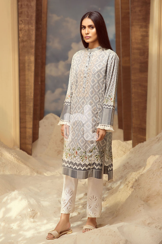 PS19-38 Grey Printed Embroidered Stitched Shirt - 1PC - Nishat Linen UAE