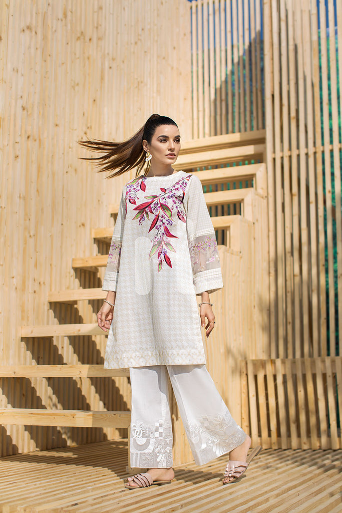 PS19-43 White Embroidered Stitched Shirt - 1PC - Nishat Linen UAE