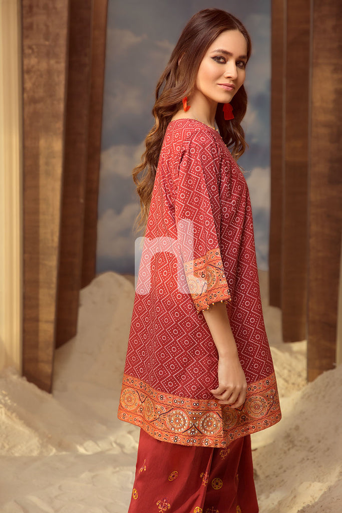 PS19-48 Maroon Printed Embroidered Stitched Lawn Shirt & Shalwar - 2PC - Nishat Linen UAE