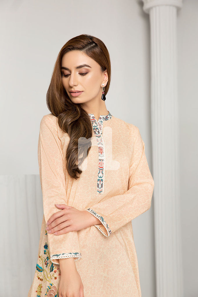 PS19-61 Peach Printed Embroidered Stitched Shirt & Printed Trouser - 2PC - Nishat Linen UAE