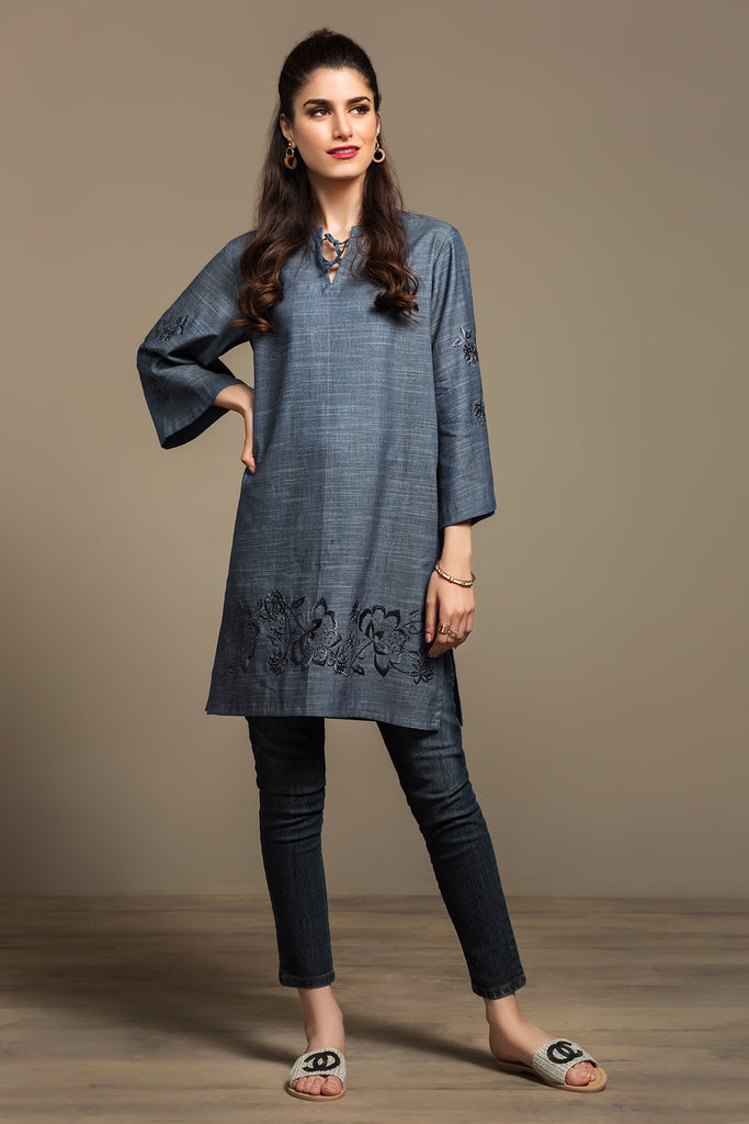 PS20-164 Dyed Embroidered Stitched Denim Shirt - 1PC - Nishat Linen UAE