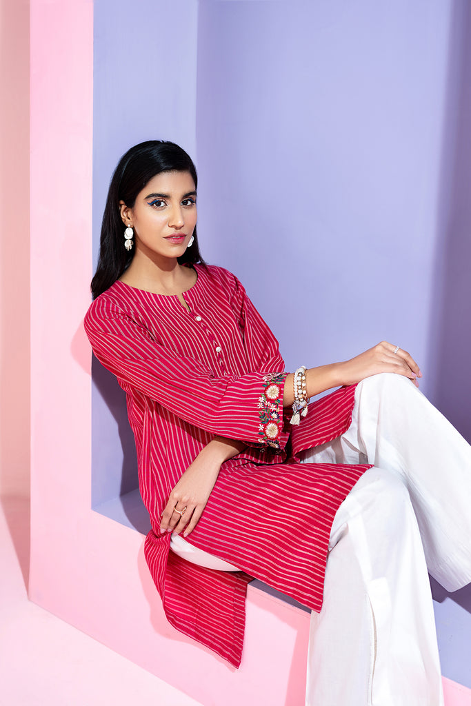 PS20-217 -Yarn Dyed Stitched  Embroidered Shirt - 1PC