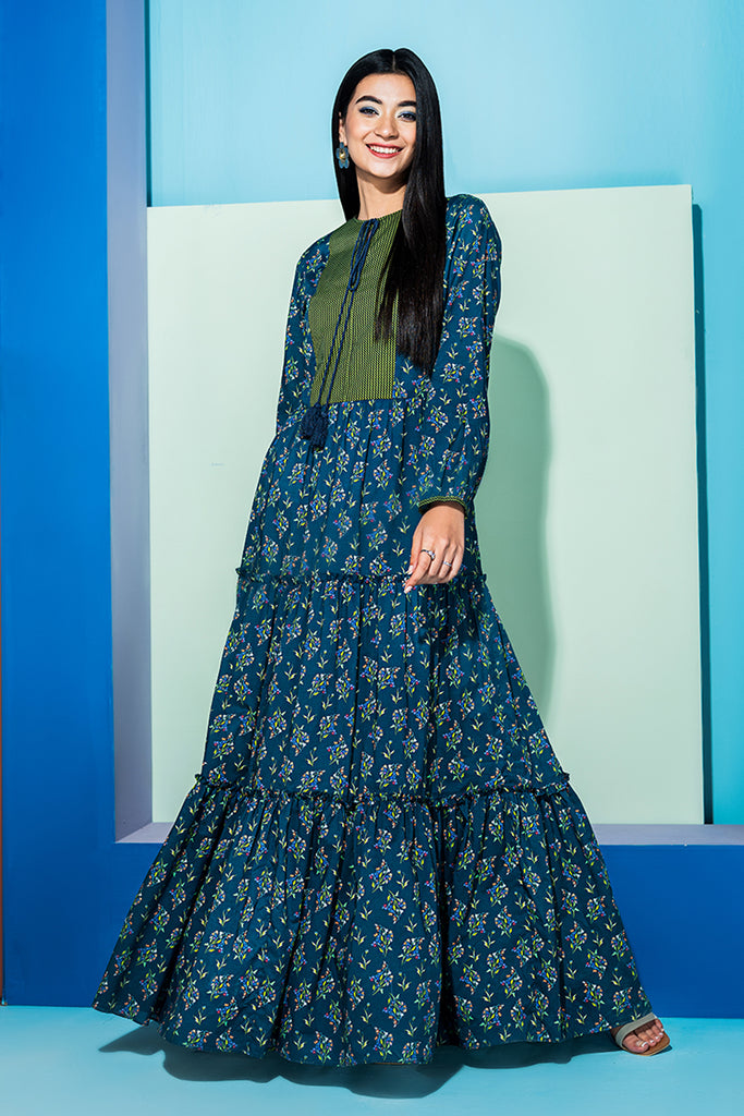 PS20-243 Printed Stitched Lawn Long Dress - 1PC