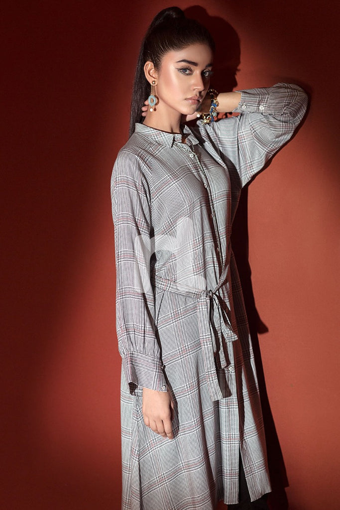 PW18-187 Grey Printed Stitched Linen Shirt - 1PC - Nishat Linen UAE