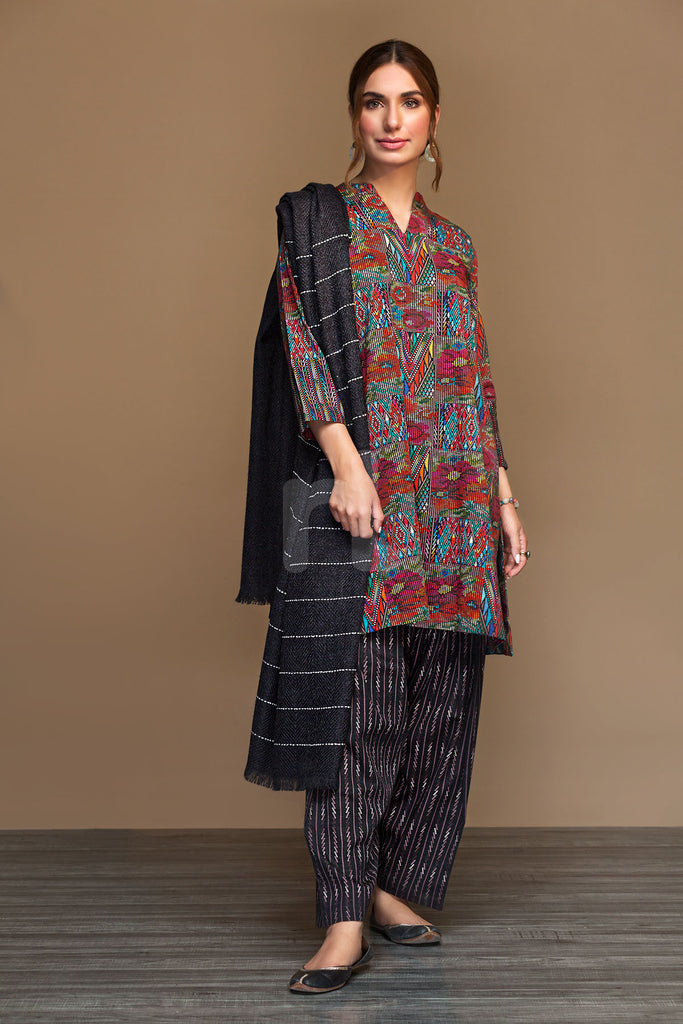 PDW19-18 Green Printed Stitched Linen Shirt & Printed Dupatta - 2PC - Nishat Linen UAE
