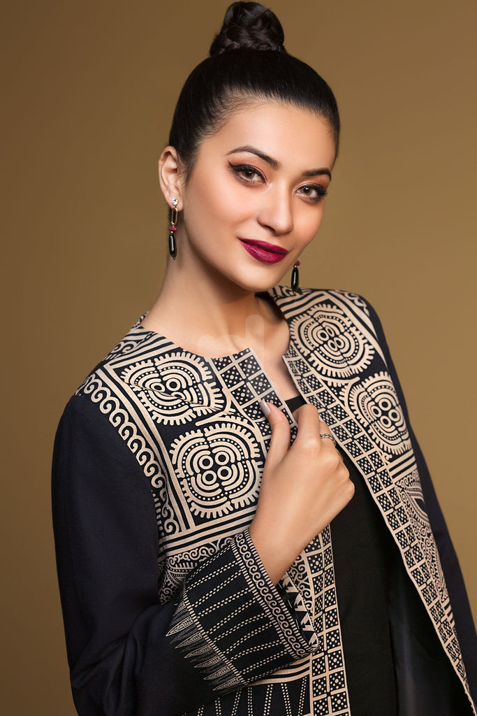 PW19-132 Black Printed Stitched Khaddar Jacket - 1PC - Nishat Linen UAE
