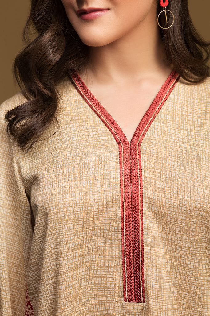 PW19-142 Skin Printed Embroidered Stitched Karandi Shirt - 1PC - Nishat Linen UAE