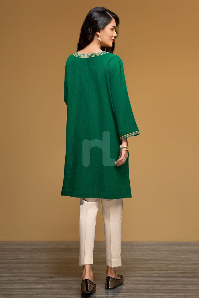 PW19-157 Green Embroidered Stitched Yarn Dyed Shirt - 1PC - Nishat Linen UAE