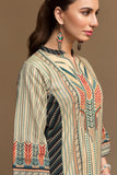 PW19-27 Beige Digital Printed Stitched Cotton Karandi Shirt - 1PC - Nishat Linen UAE